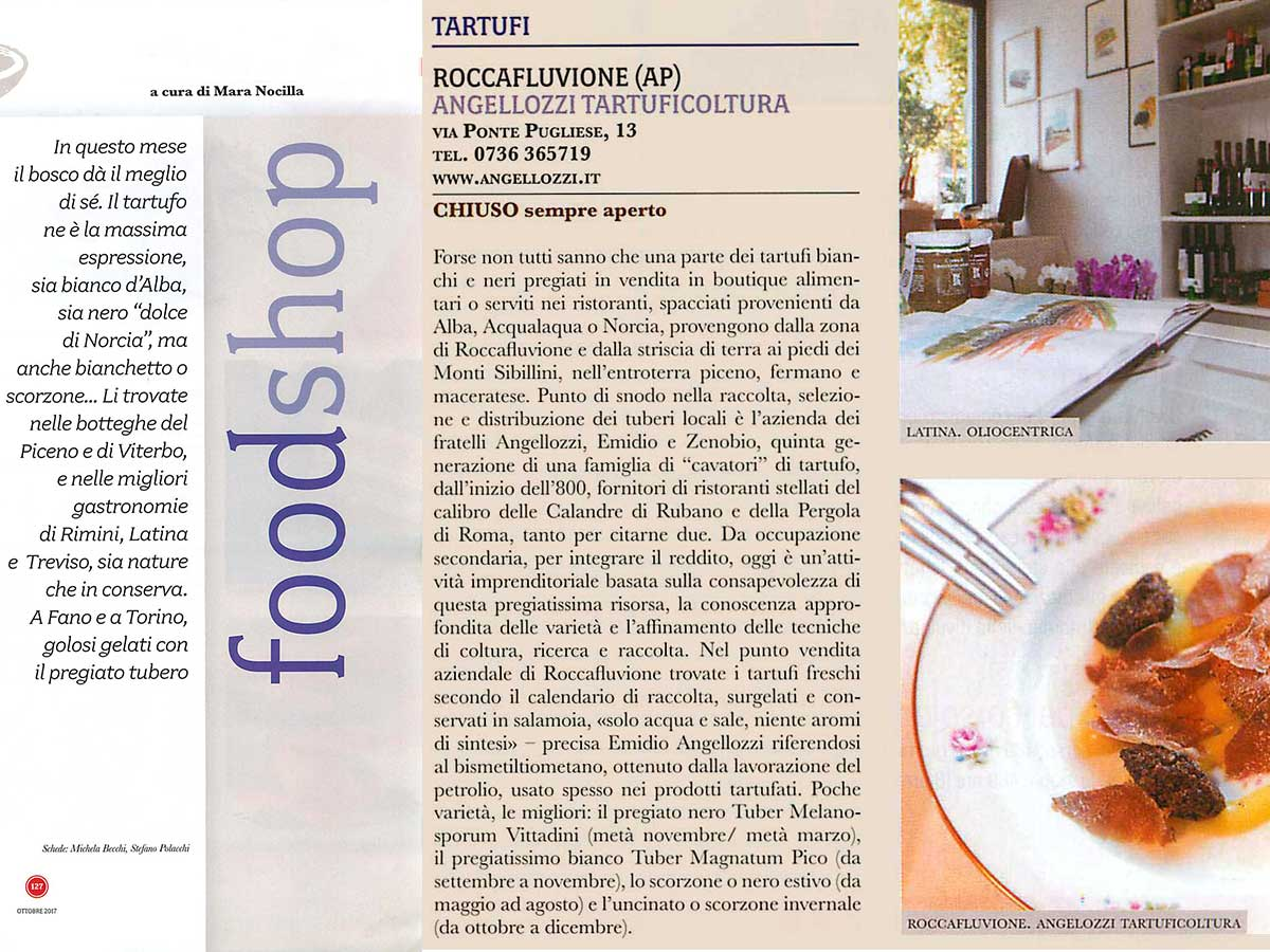 Angellozzi Tartuficoltura appears in the Gambero Rosso magazine, Foodshop
